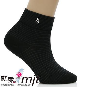 條紋無痕寬口短襪-(黑色)-襪子     船 襪