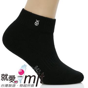 短筒運動防 鞋 臭襪厚底(氣墊織法/黑色)-襪子