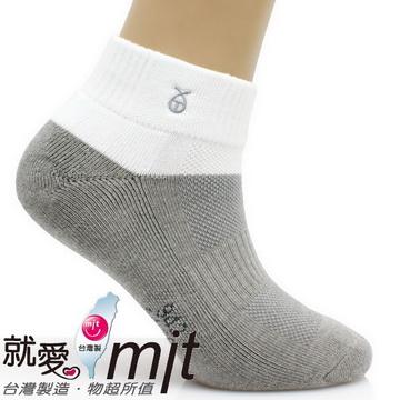 短筒運動襪厚底(氣墊織法/白色灰底)-襪子    運動 襪 推薦